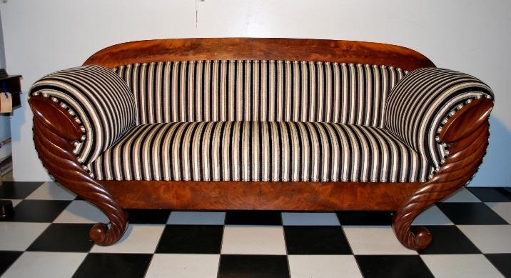 Antieke Biedermeier mahoniehouten bank, ca 1850, topstuk - Antiekboerderij Het Wagenwiel Drenthe (5) VERKOCHT 5-2013 4500 euro