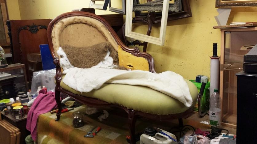 Antieke chaise longue oude stoffering - Antiekboerderij Het Wagenwiel (2)