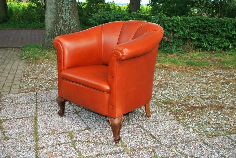 Antieke lederen fauteuil ca 1900 - Antiekboerderij Het Wagenwiel (1)
