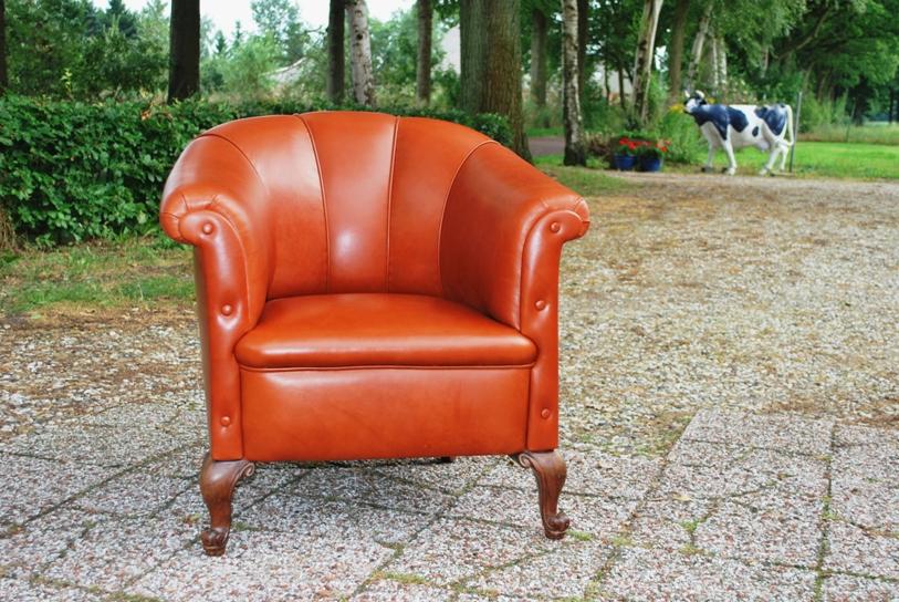 Antieke lederen fauteuil ca 1900 - Antiekboerderij Het Wagenwiel (2)