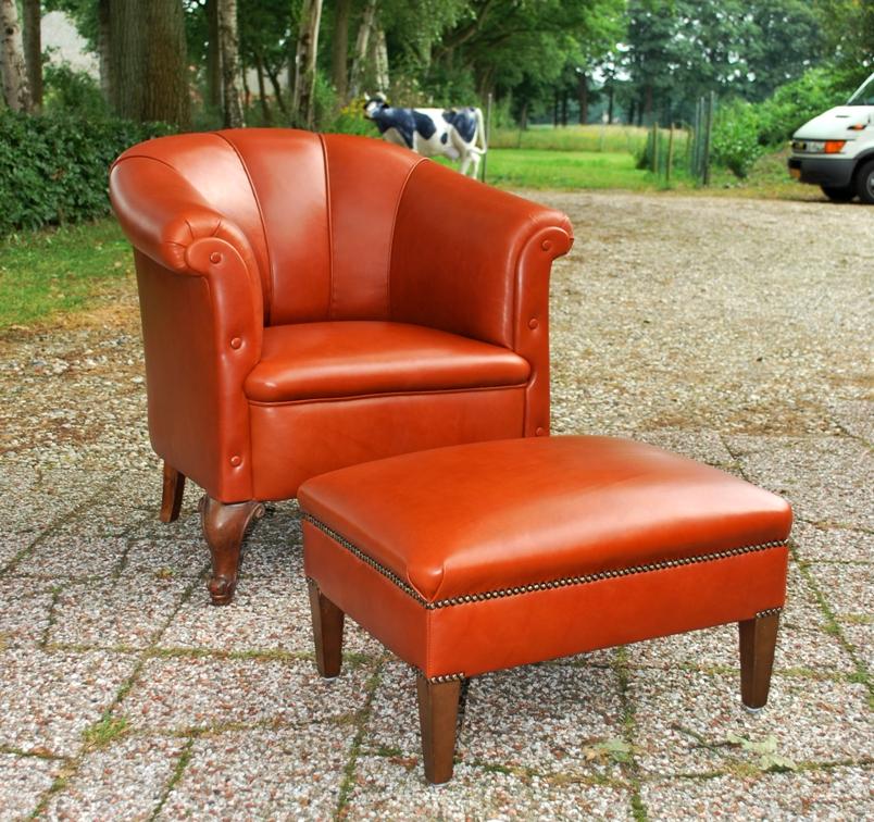Antieke lederen fauteuil ca 1900 - Antiekboerderij Het Wagenwiel (3)