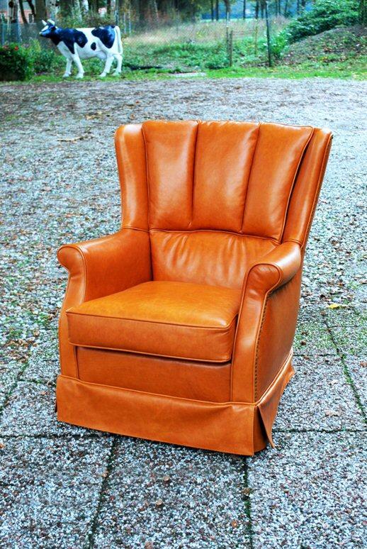Lederen fauteuil nieuwe stoffering
