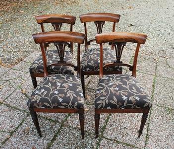 Set Engelse rosewood eetkamerstoelen - nieuwe bekleding