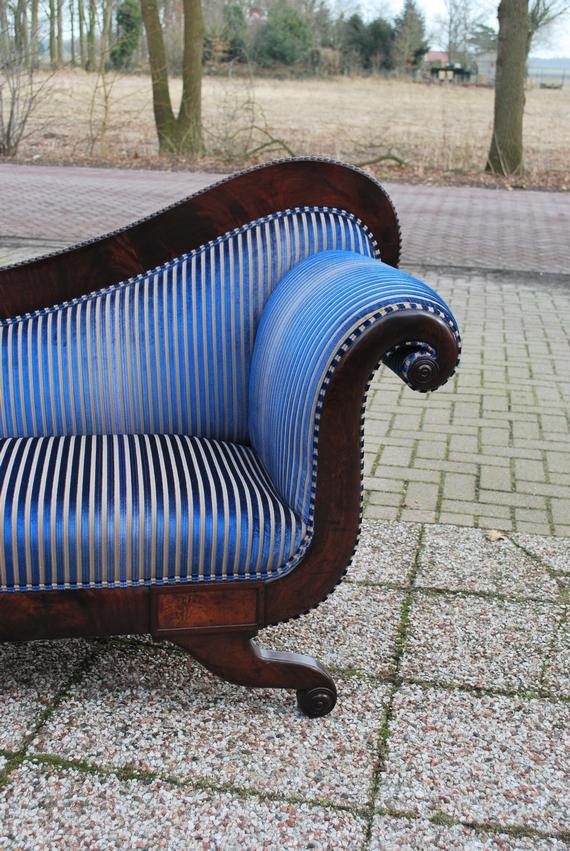 Antieke chaise longue mahonie Hollands 1840 - Antiekboerderij het Wagenwiel (3)