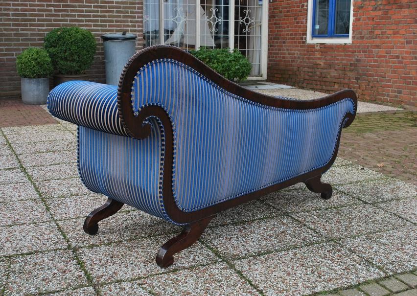 Antieke chaise longue mahonie Hollands 1840 - Antiekboerderij het Wagenwiel (4)
