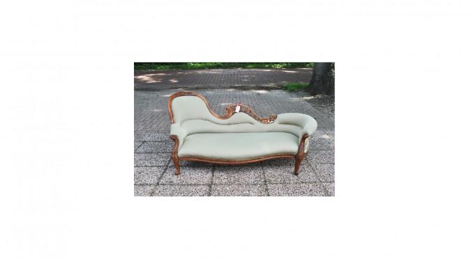 VERKOCHT Nog te stofferen Engelse chaise longue, mahonie, ca 1870