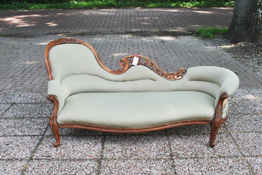 Antieke chaise longue mahonie Engeland 1870 - Antiekboerderij Het Wagenwiel (2)