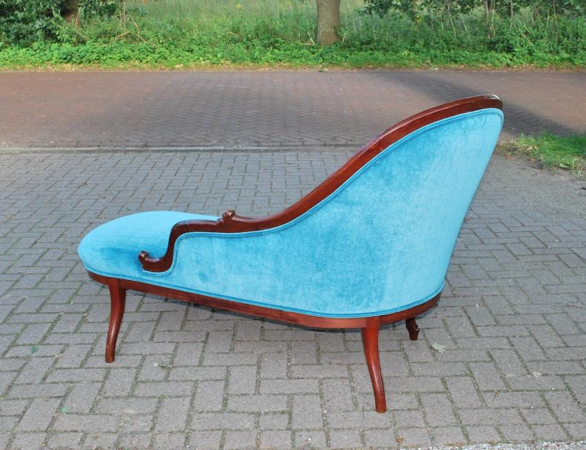 Antieke chaise longue, mahonie, Frankrijk ca 1870 - Antiekboerderij Het Wagenwiel (4)