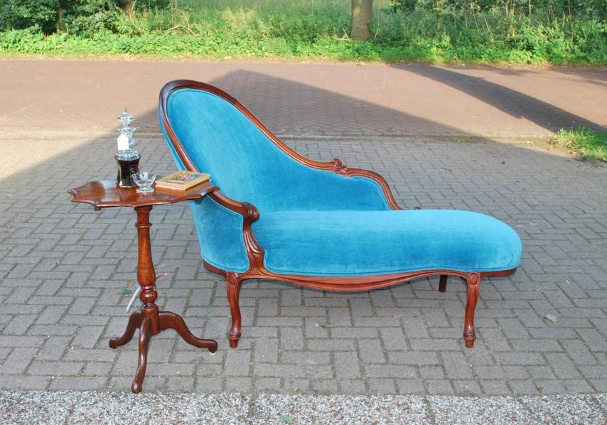 Antieke chaise longue, mahonie, Frankrijk ca 1870 - Antiekboerderij Het Wagenwiel (5)