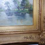 Olieverf op paneel 50 x 35cm rivierlandschap Jan van Rijsewijk - Antiekboerderij Het Wagenwiel (4)