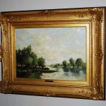 Olieverf op paneel 50 x 35cm rivierlandschap Jan van Rijsewijk - Antiekboerderij Het Wagenwiel (6)