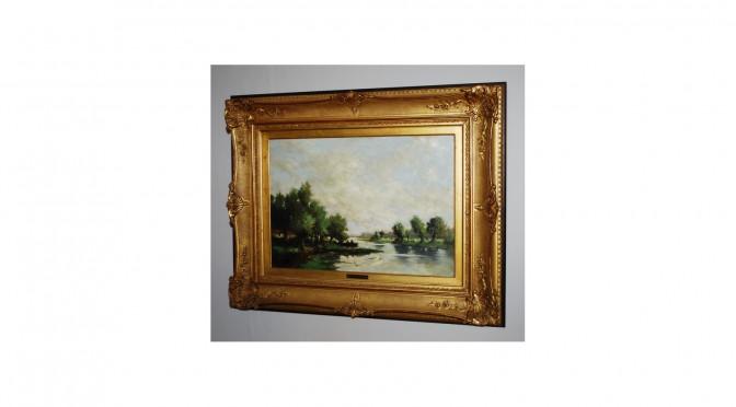 VERKOCHT Schilderij, rivierlandschap, olieverf op paneel, Johannes Cornelis van Rijsewijk
