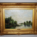 Olieverf op paneel 50 x 35cm rivierlandschap Jan van Rijsewijk - Antiekboerderij Het Wagenwiel (7)