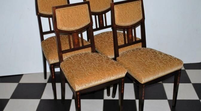 4 mahonie eetkamerstoelen, mahonie met intarsia, Art Deco periode, ca 1930, nieuw gestoffeerd