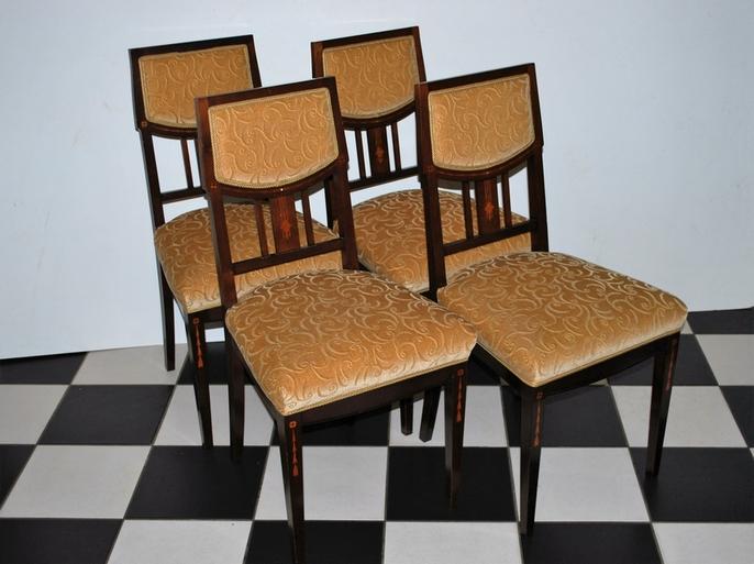 4 eetkamerstoelen, mahonie met intarsia, Art Deco ca 1930 - Antiekboerderij het Wagenwiel (4)