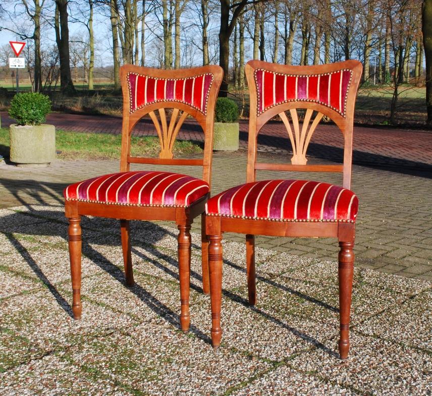 2 Art Nouveau mahonie stoelen eetkamerstoelen ca 1900 - Antiekboerderij Het Wagenwiel (2)2 Art Nouveau mahonie stoelen eetkamerstoelen ca 1900 - Antiekboerderij Het Wagenwiel (2)
