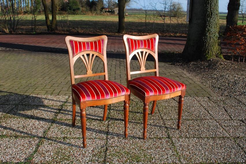 2 Art Nouveau mahonie stoelen eetkamerstoelen ca 1900 - Antiekboerderij Het Wagenwiel