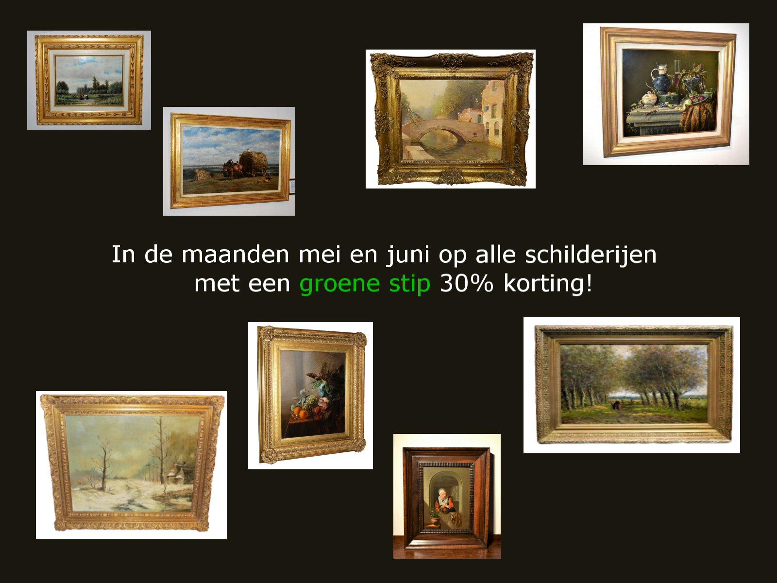 Schilderijen 30% korting. Heesakkers, Zwart, Heppener, Knikker, Moeve, Breedveld
