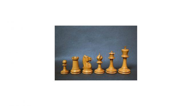 """Antiek schaakspel, Engeland, Staunton """"club size"""" koning 110mm, verzwaarde stukken, ca 1880"""
