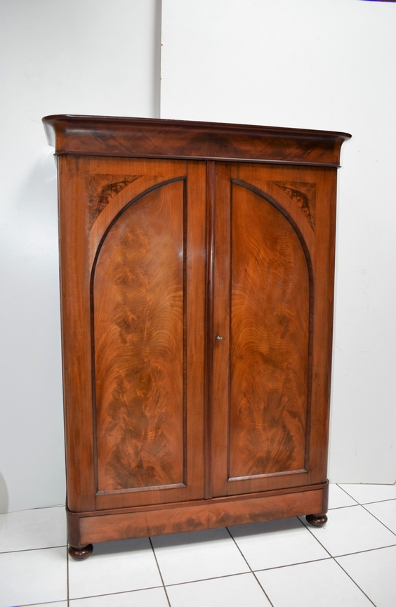 Antieke notariskast mahonie toogdeuren Biedermeier 1850 - Antiekboerderij Het Wagenwiel 1