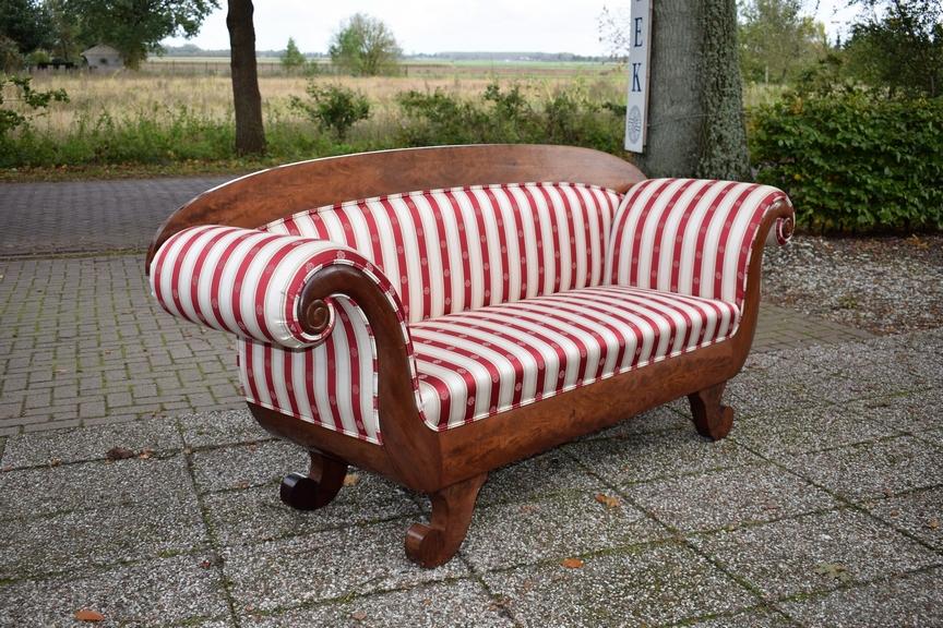 Antieke sofa, mahonie, Biedermeier - ca 1840, gestoffeerd - Antiekboerderij Het Wagenwiel