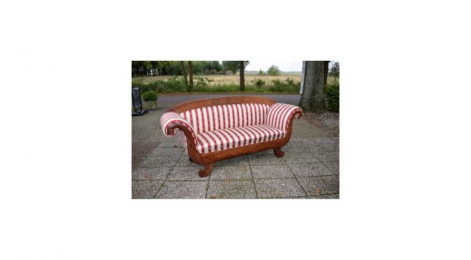 Antieke sofa, mahonie, Biedermeier - ca 1840, gestoffeerd - Antiekboerderij Het Wagenwiel 2