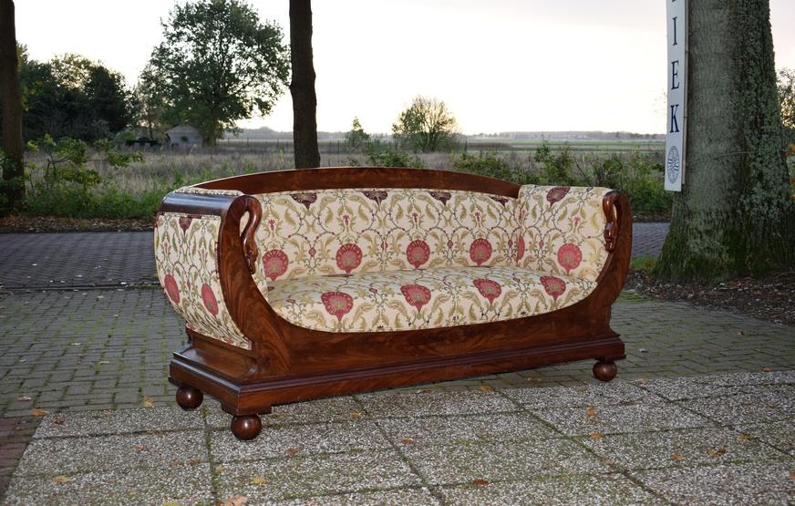Antieke bank sofa mahonie Biedermeier ca 1850 - Antiekboerderij Het Wagenwiel 2