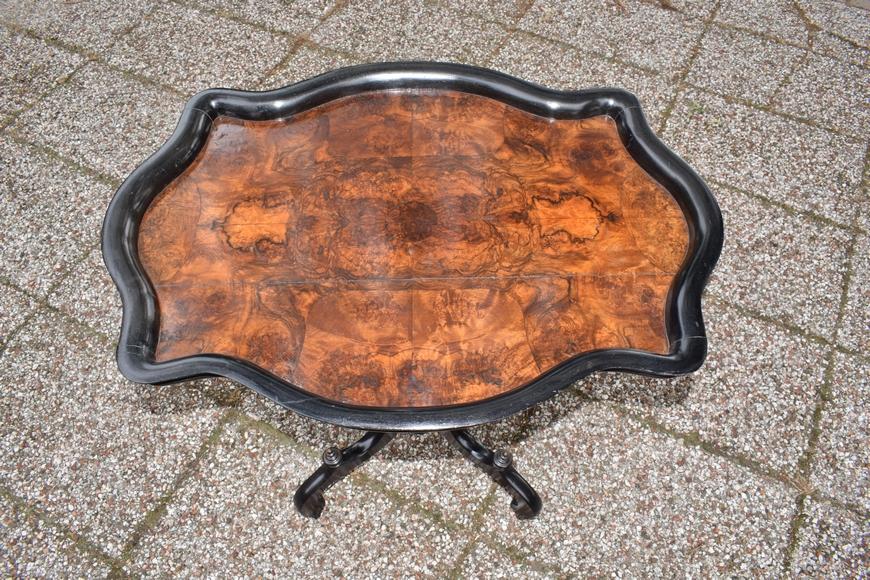 Antieke theetafel, notenhout gezwart, Willem III ca 1870 - Antiekboerderij Het Wagenwiel (5)