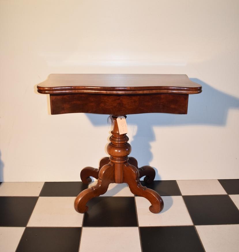Antieke speeltafel kaarttafel sidetable mahonie, Biedermeier ca 1860 - Antiekboerderij Het Wagenwiel (2)
