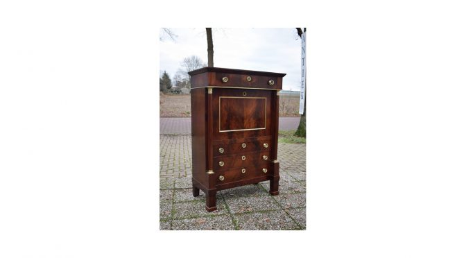 Antieke secretaire, mahonie, Hollands Empire – ca 1820