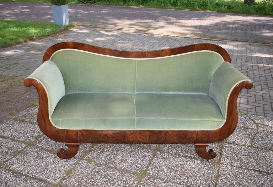 Antieke bank sofa, mahonie, Biedermeier ca 1850 - Antiekboerderij Het Wagenwiel (30)