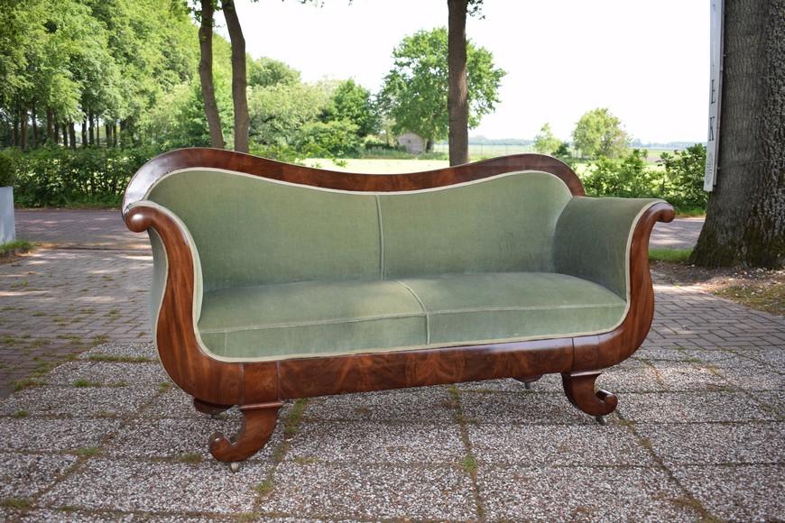 Antieke bank sofa, mahonie, Biedermeier ca 1850 - Antiekboerderij Het Wagenwiel (32)