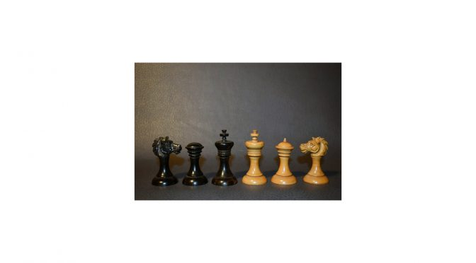 396 - Antique English playing set, boxwood ebony approx 1850 - Dorland Chess (10a)