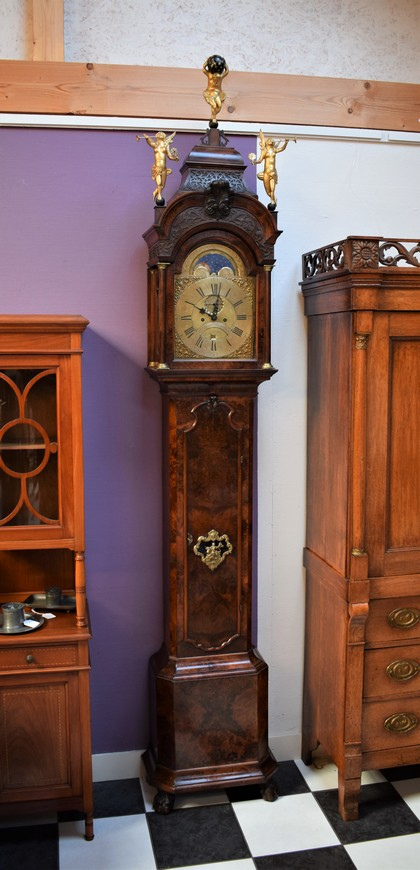 Antiek staand horloge, JP Kroese Amsterdam ca 1750 - Antiekboerderij Het Wagenwiel (2)