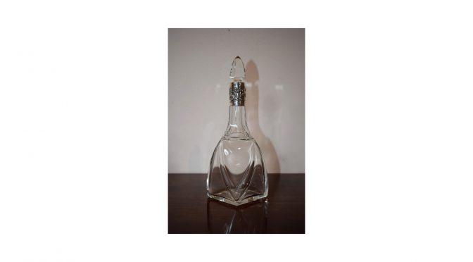 Antiek parfumflesje / karafje, kristal met zilver, Art Nouveau ca 1900