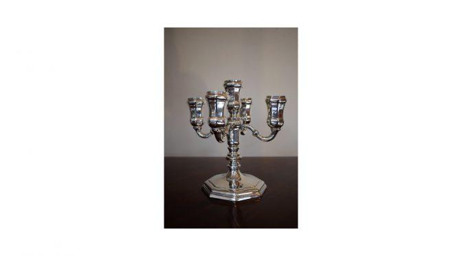 Kandelaar / kandelaber, 5 lichts, zilver, Van Kempen & Begeer 1947