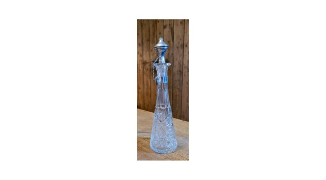 antieke karaf, kristal met zilveren dop, ca 1900
