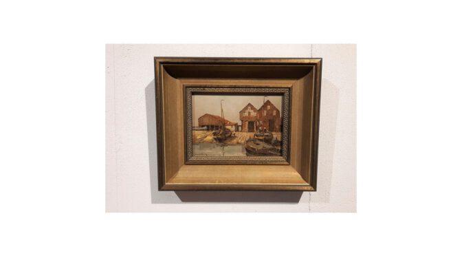 Schilderij, olieverf op board, vissershaven, Walter Hemming – 1e helft 20e eeuw